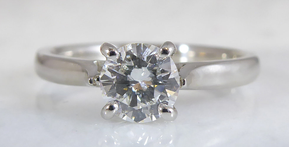 Pre-owned Diamond Solitaire Ring, with 0.52 Carat Diamond, Platinum Band