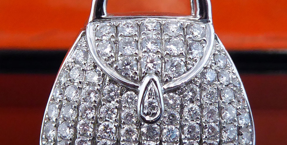 Vintage 1.06 Carat Diamond Pendant Charm of a Handbag, 18ct White Gold