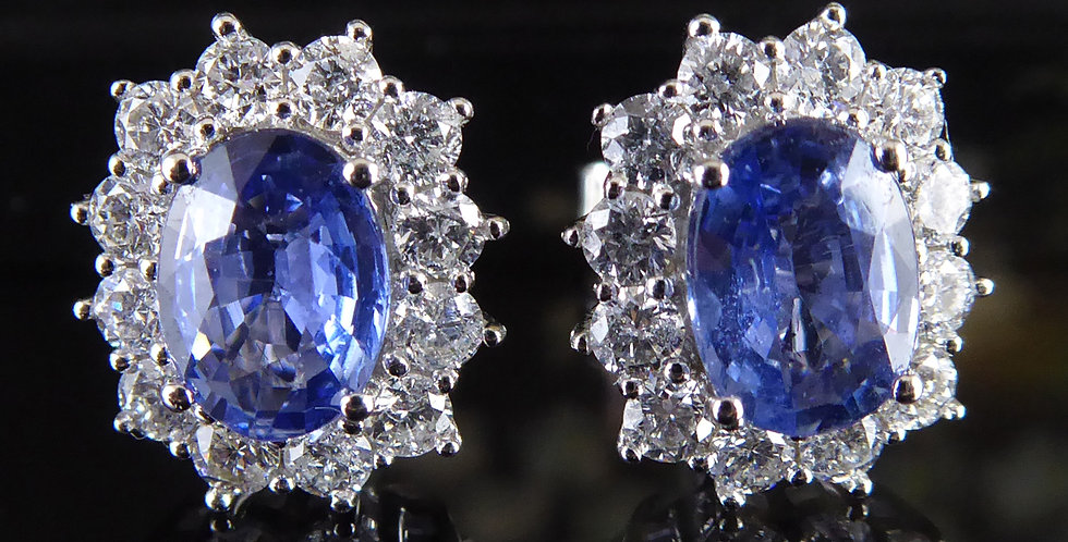 Blue Sapphire and Diamond Cluster Earrings, White Gold, Classic Style