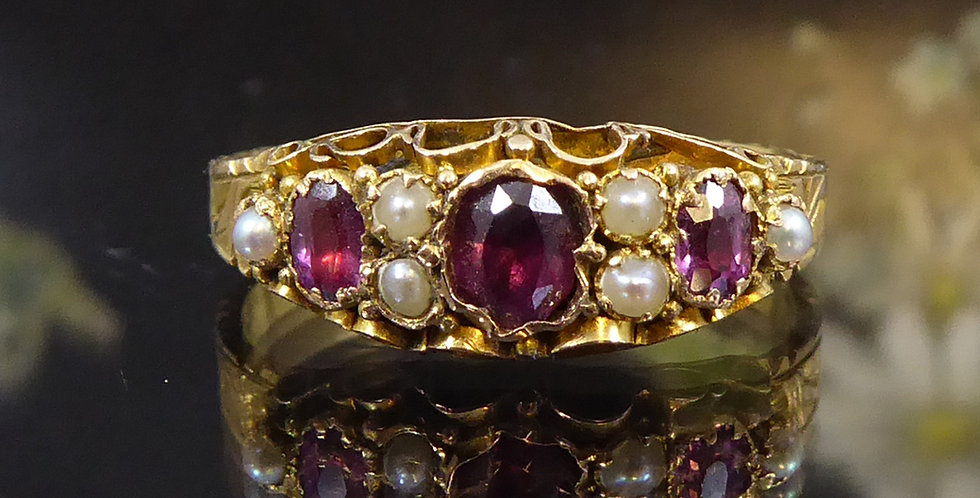 Antique Gemstone Ring Set with Garnet and Pearls in 15ct Gold, Chester 1881