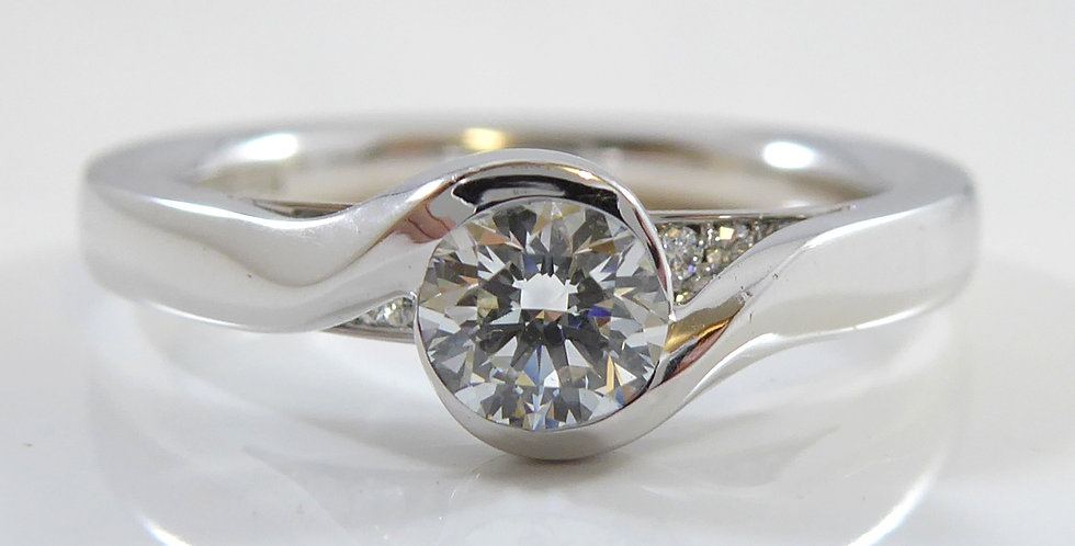 Andrew Geoghegan Embrace Solitaire Diamond Ring with Diamond Accents