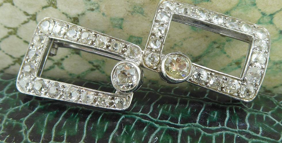 Art Deco Diamond Brooch in Geometric Style