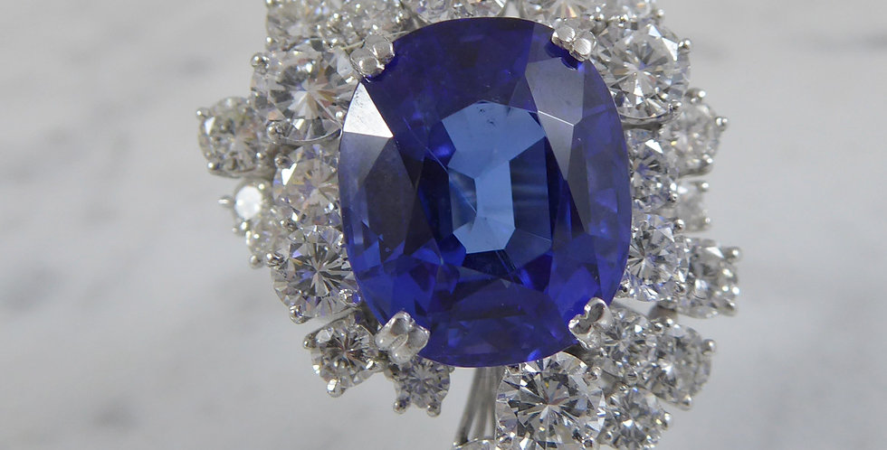 Vintage Tanzanite and Diamond Cocktail Ring in 18ct White Gold