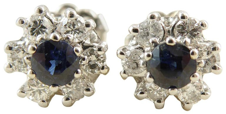Vintage Sapphire and Diamond Earring Studs in 18 Carat White Gold, London 1977