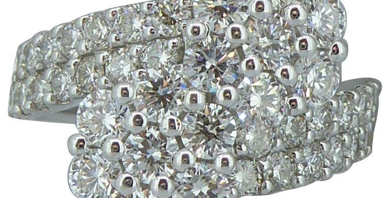 2.0 Carat Diamond Ring, Double Daisy Cluster Design, Diamond Set Shoulders