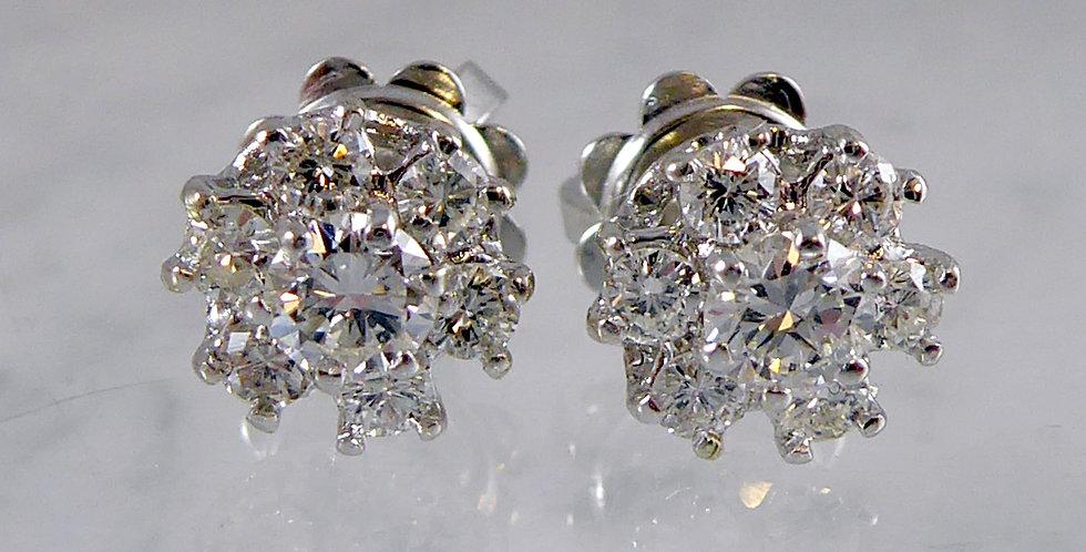 Vintage Diamond Earrings, front view