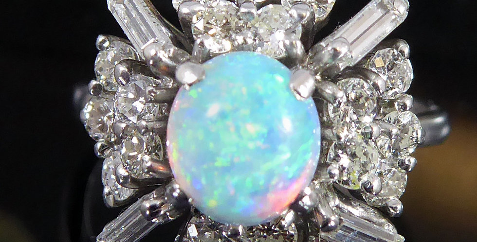 Vintat opal and diamond ring, white gold band