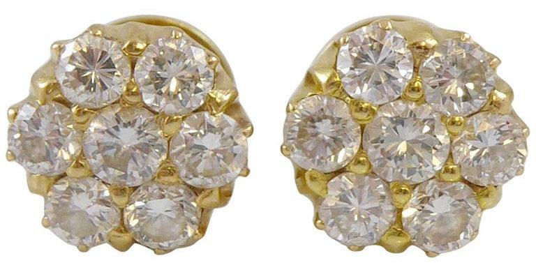 Vintage diamond cluster earrings, yellow gold