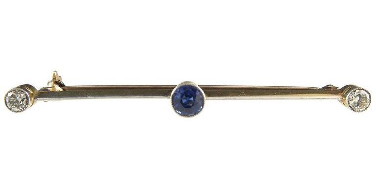 Antique Sapphire and Diamond Brooch, circa 1910
