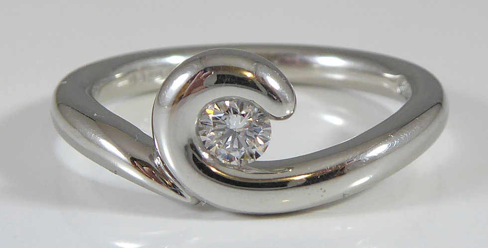 Contemporary Solitaire Diamond Ring, D Flawless, Platinum