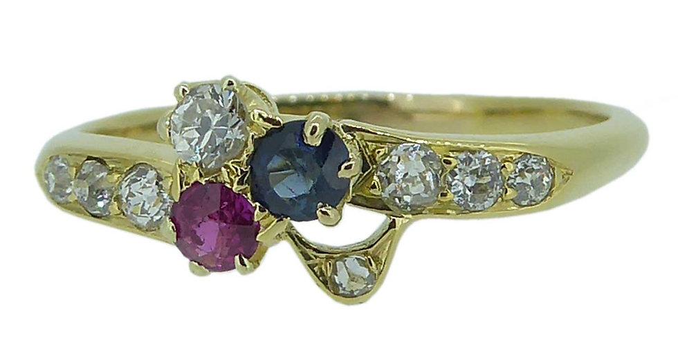 Circa 1915 Diamond, Sapphire, Ruby Patriotic Ring