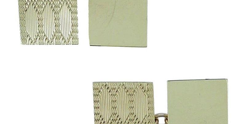 1980s Vintage Gold Cufflinks with Machine Engraved Design