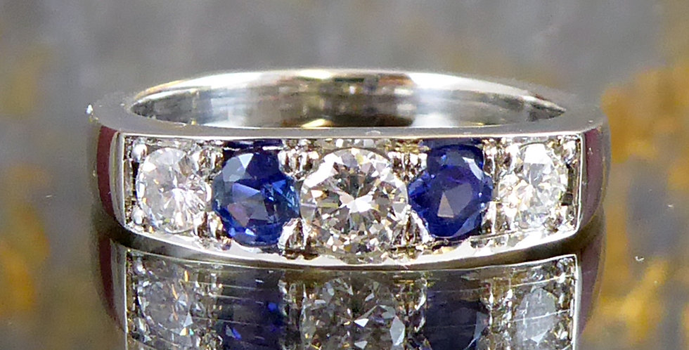Pre-owned Sapphire and Diamond Eternity Ring in Platinum
