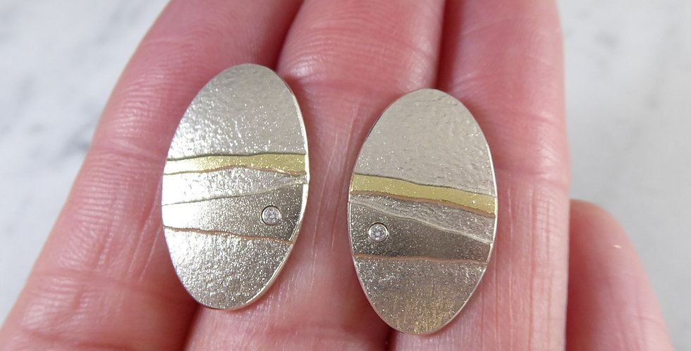 Contemporary Diamond Earrings in Matte Finish Silver with Gold Details