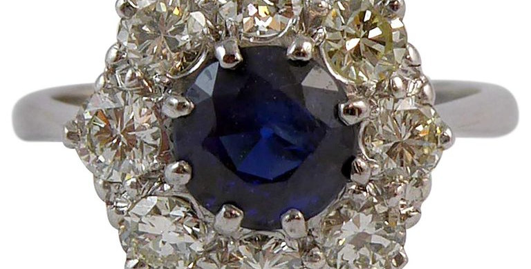 Vintage 1.50 Carat Sapphire and 1.0 Carat Diamond Cluster Ring, Platinum Band