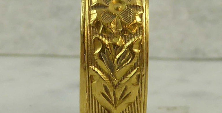 Vintage Wedding Ring, Hallmarked London 1967, Floral Pattern, Yellow Gold