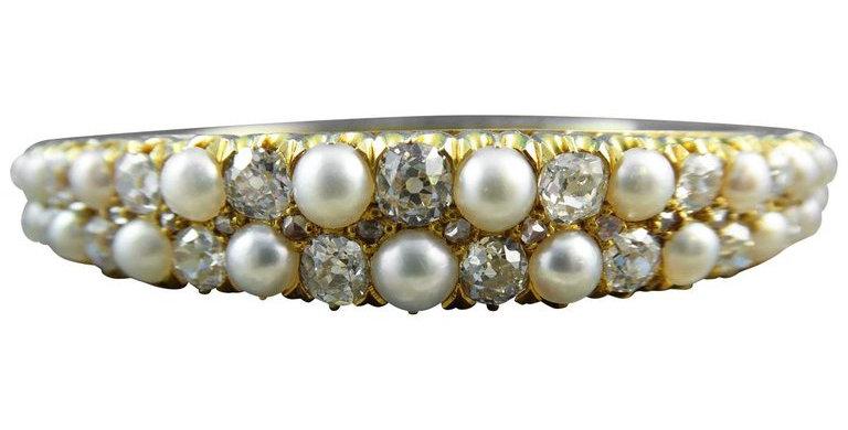 Antique 5.0 Carat Diamond and Natural Pearl Bangle, circa 1890s, 18 Carat Gold