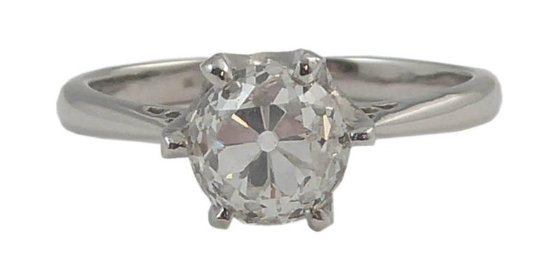 Antique 1.02 Carat Old European Cut Diamond in New Platinum Solitaire Setting