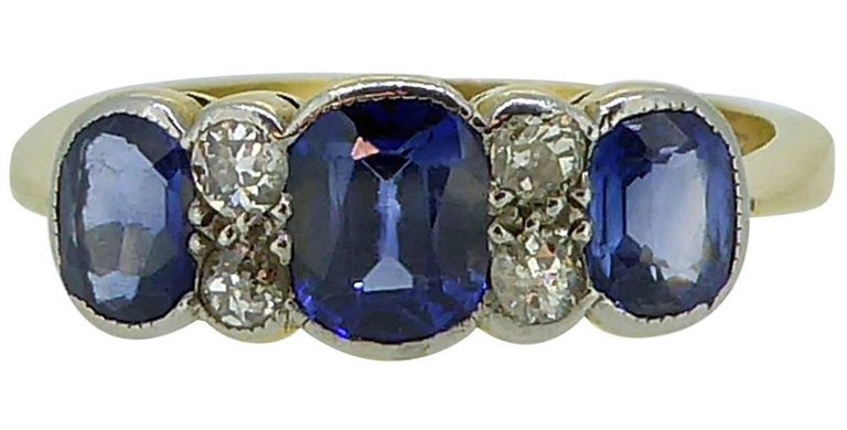 Art Deco Diamond and Synthetic Sapphire Engagement Ring, Circa 1920s