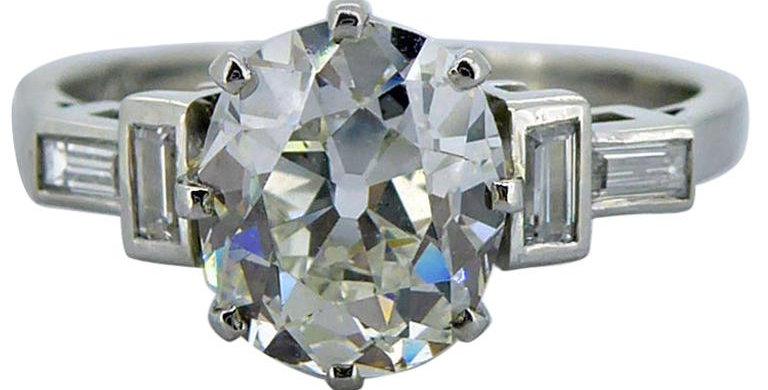 Art Deco 1.61 Carat Old European Cut Diamond Solitaire Ring, Platinum Band