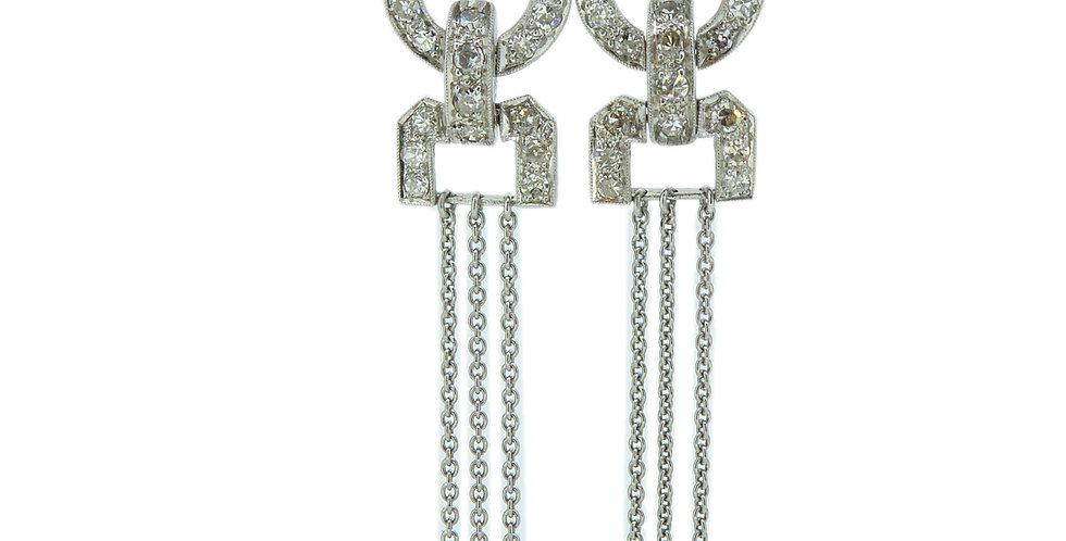Art Deco Style Earrings Conversion, Diamond and Pearl Chandelier Drops, Platinum