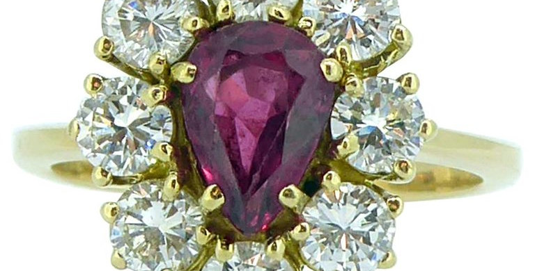 Vintage Ruby and Diamond Cluster Ring,