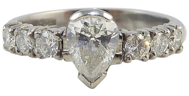 Vintage Pear Shaped Diamond Ring 0.56ct with Diamond Set Shoulders, 0.30ct