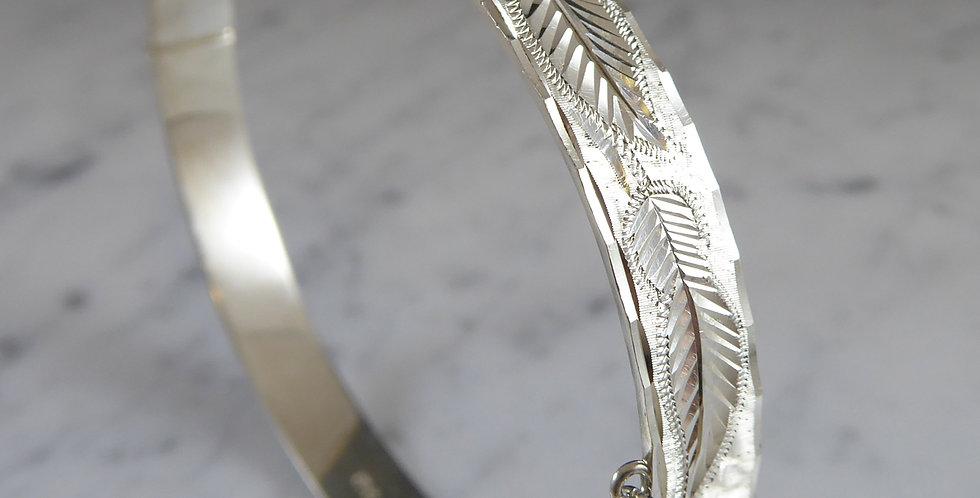 Vintage Silver Bangle with Fern Leaf Engraving