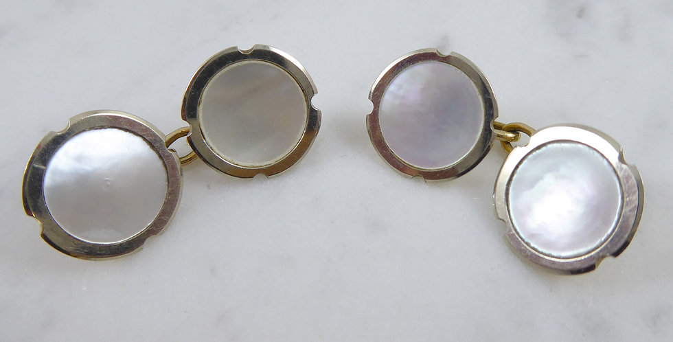 Art Deco Cufflinks, Mother of Pearl in Platinum and Gold