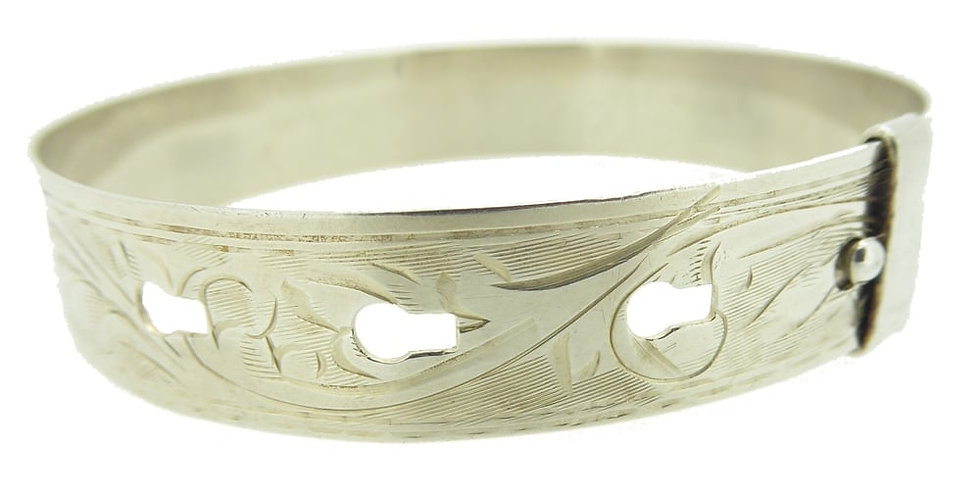 Vintage 1940s Silver Bangle Buckle Style, Hallmarked Chester 1941