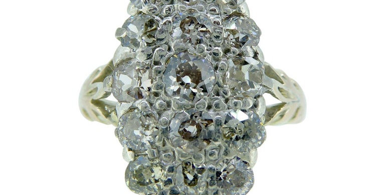 Antique Victorian Diamond Ring, Circa 1890s, Marquise Shaped Cluster