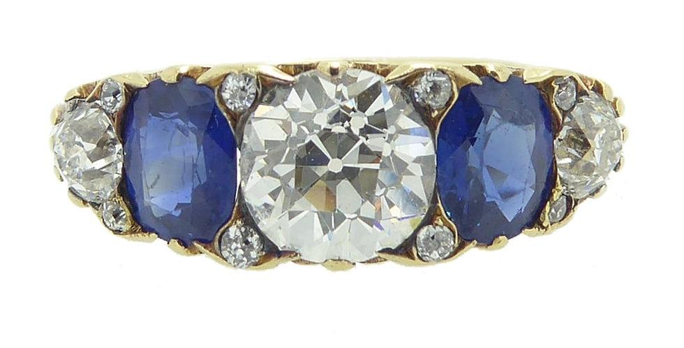 Victorian Style Sapphire & Diamond Ring, c.1910-1920