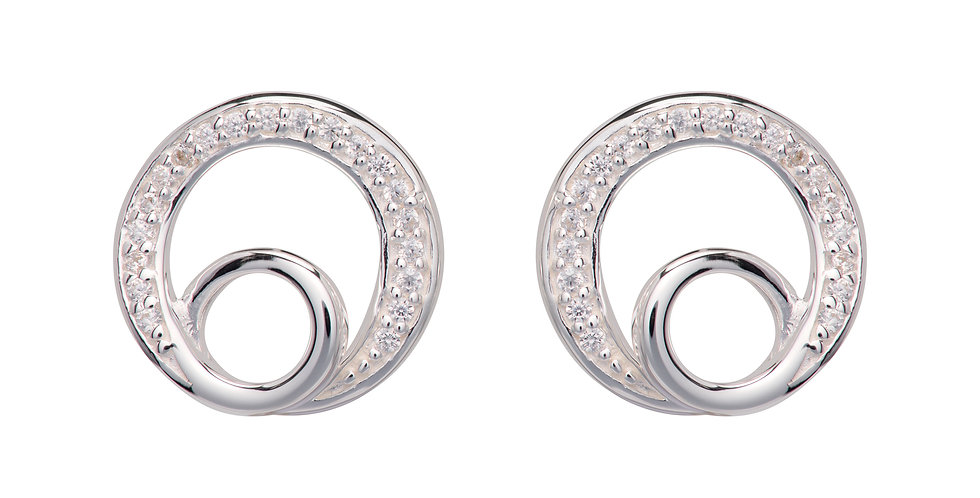 Modern Silver Circle Earrings with Pave Set Cubic Zirconia Detail