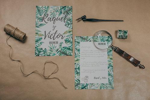 Sobre papel kraft, invitaciones kraft, invitaciones tropicales, invitaciones de boda tropicales, invitaciones de boda vintage