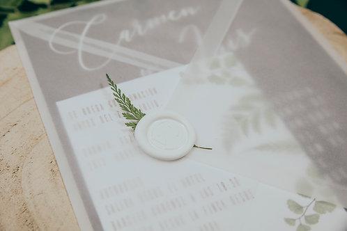 lacre de cera boda, sello cera, invitaciones de boda madera, invitaciones de boda helechos, invitaciones de boda originales