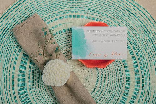tarjetas agradecimiento, invitaciones de boda acuarela, invitaciones color coral, invitaciones de boda color turquesa