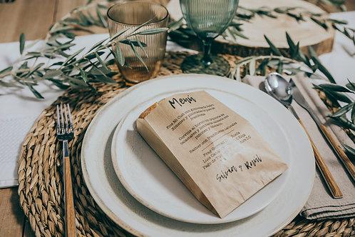 invitaciones de boda modernas, invitaciones de olivos, invitaciones de boda con olivo, minutas bolsa kraft, bolsa papel kraft