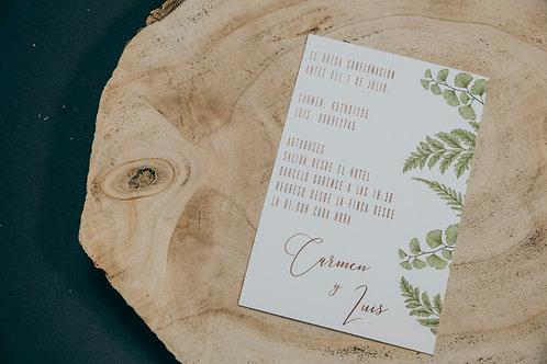 invitaciones de boda diferentes, invitaciones de boda madera, invitaciones de boda helechos, invitaciones de boda originales