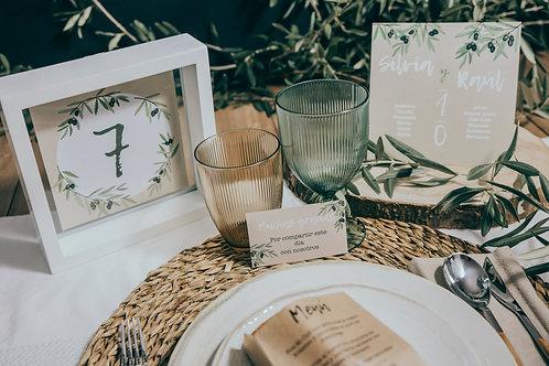 invitaciones de boda modernas, invitaciones de olivos, invitaciones de boda con olivos, tarjeta agradecimiento