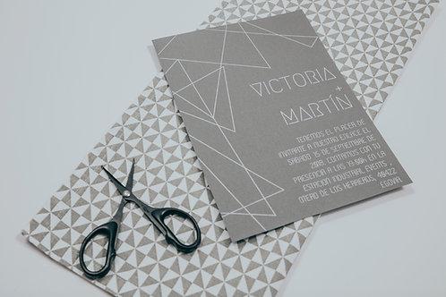 invitaciones de boda tinta blanca, invitaciones de boda geométricas, invitaciones de boda tonos grises, invitaciones elegante