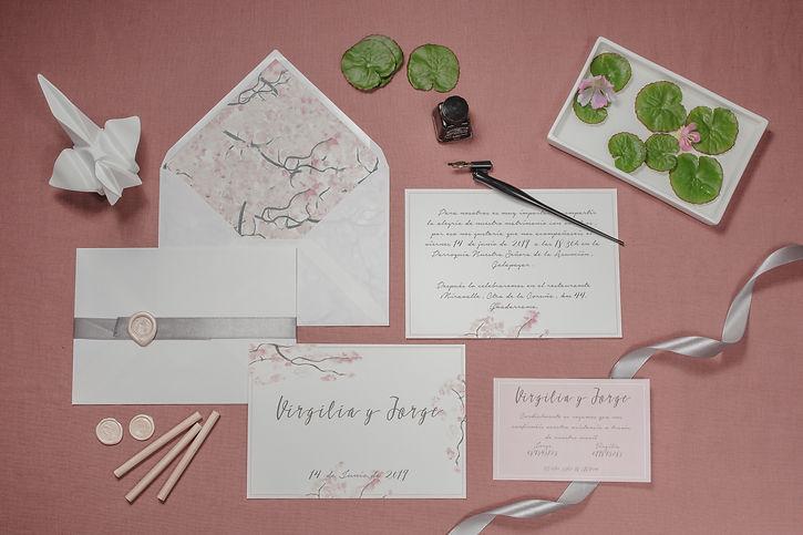 Invitaciones de boda estilo japonés