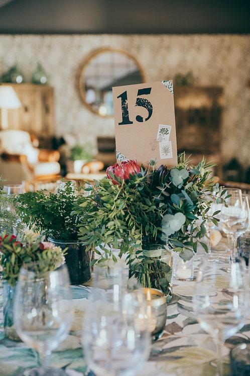 Invitaciones tropicales, meseros papel kraft, sellos vintage, invitaciones de boda tropicales, invitaciones de boda vintage