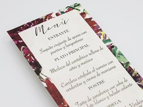 Invitaciones de boda burdeos, Invitaciones de boda con flores granate, invitaciones de boda granate, minuta de boda