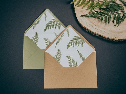 sobre kraft, sobre forrado verde, invitaciones de boda madera, invitaciones de boda helechos, invitaciones de boda originales