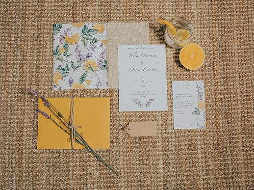 sobre tela de saco, invitaciones con lavandas, invitaciones tela de saco, invitaciones de boda naranjas,