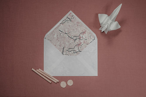 sobre forrado rosa, invitaciones de boda cerezo, invitaciones flor de cerezo, invitaciones de boda rosa, invitaciones japones