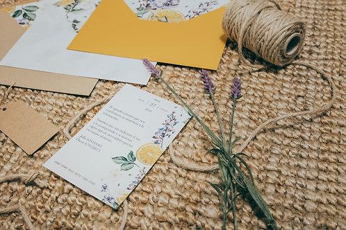 Tarjeta de información boda, invitaciones con lavandas, invitaciones tela de saco, invitaciones de boda naranjas,