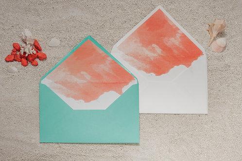 sobre turquesa, sobre coral, invitaciones de boda acuarela, invitaciones color coral, invitaciones de boda color turquesa