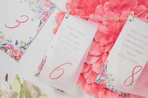 invitacion de boda peonias, invitaciones papel vegetal, invitaciones papel cebolla, seating plan, seating plan papel vegetal