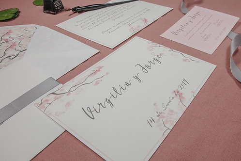 invitaciones de boda cerezo, invitaciones flor de cerezo, invitaciones de boda rosa, invitaciones inspiracion japon